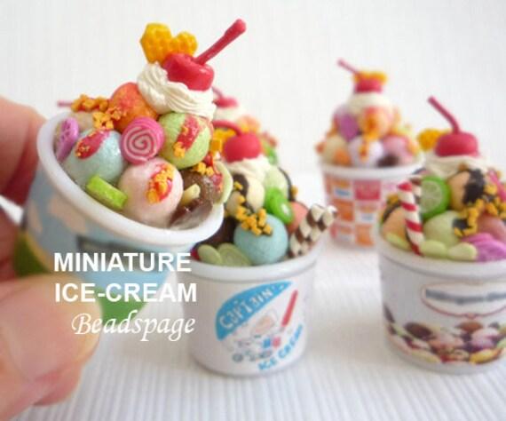 Ice Cream Sundae Cup Dollhouse Miniatures Food Sweet Barbie Blythe Supply Decor
