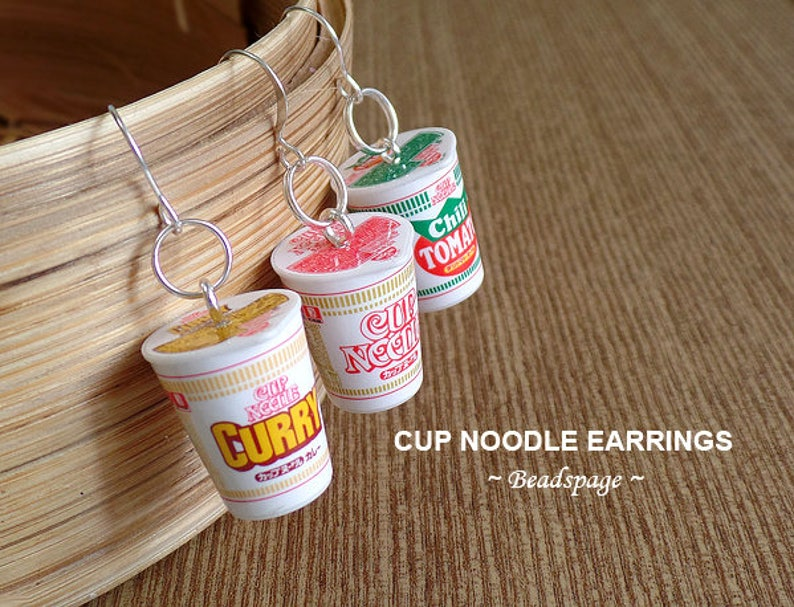 Miniature Food Noodles Earrings Jewelry  Instant Cup Noodle image 0