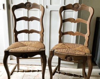 Two Vintage French Rustic Chairs / Vintage Wooden Chair / French Vintage  Wicker Chairs / Farmhouse Country Chairs/ Dining Chairs /