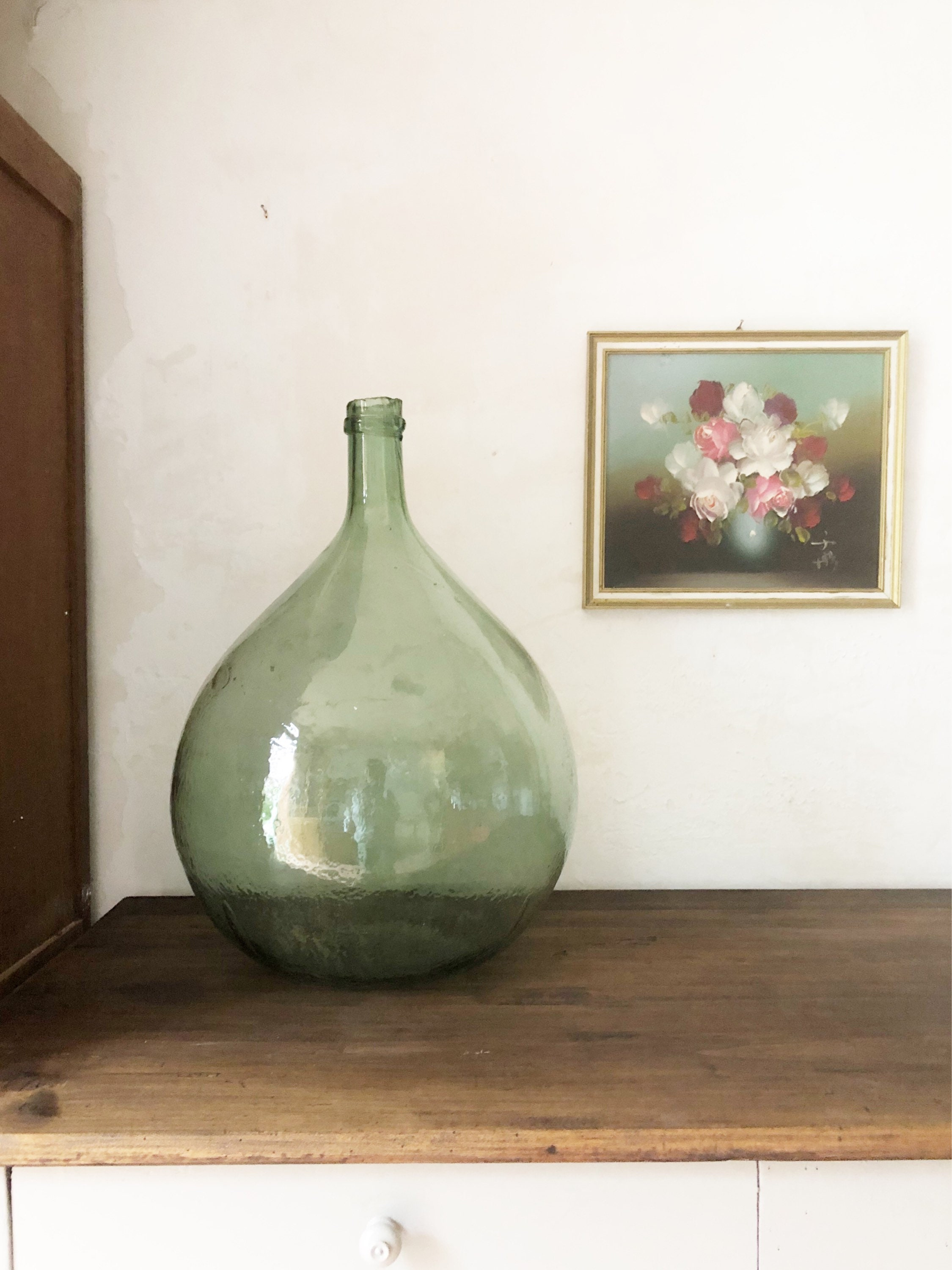 Large Vintage Green Demijohn Dame Jeanne Bottle / French Vintage ...