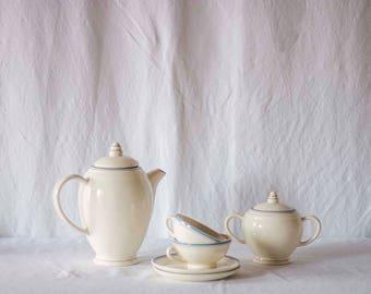 Vintage Italian Porcelain Coffee Set / Italian pottery / porcelain tea set / vintage cups and saucers / vintage teapot / vintage homewares