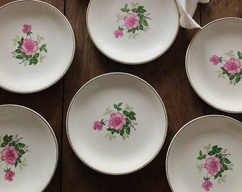 Six Vintage French Rose Floral Plates / French Country Chic / Shabby Chic / Pretty Vintage / French Porcelian / Vintage Pink / Wall Decor