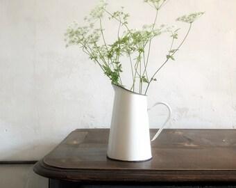 Vintage Enamel Pitcher Jug / Antique french jug / antique pitcher / antique enamel jug / french rustic jug / enamel vase