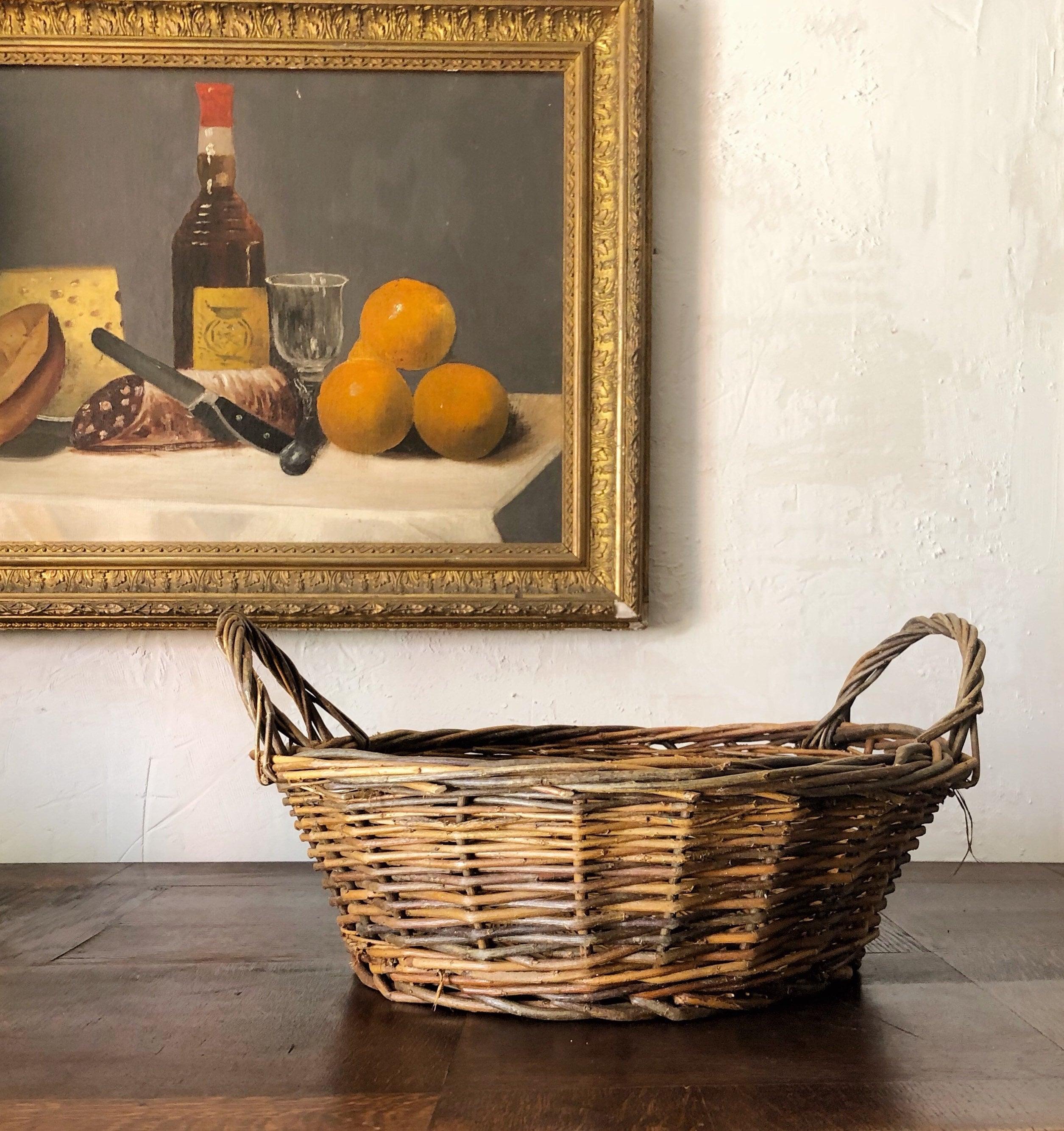 Reserved Vintage French Basket Rustic Vintage Basket