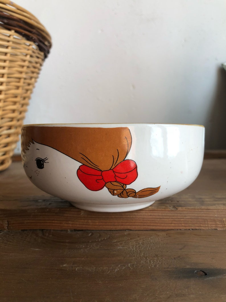 Vintage Ceramic Character Childs bowl  Vintage french Bowl  French Kitchen  Vintage hot chocolate bowl  vintage Pottery