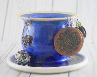 Cobalt Crystalline Earring Tree, Ceramic