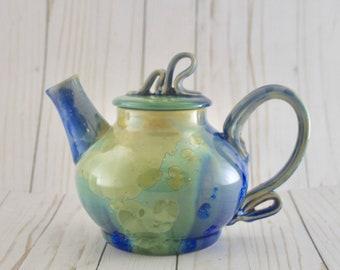 Teapot, Ceramic, Cobalt and Emerald Crystalline