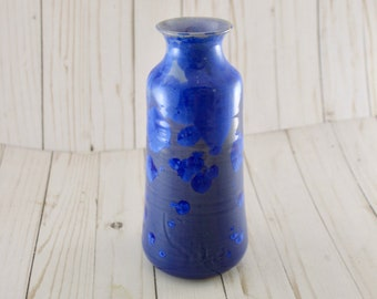 Ceramic Bottle Vase, Cobalt Crystalline