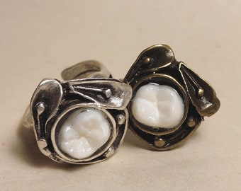 NEW STYLE - Tooth Fairy Series: Real Human Molar Art Deco Floral Adjustable Ring - Starts at Size 7
