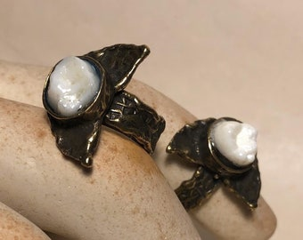 NEW STYLE - Tooth Fairy Series: Real Human Molar Lunar Moon Phase Adjustable Brass Ring - Starts at Size 7