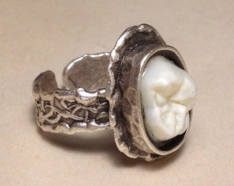 Tooth Fairy Series: Real Human Molar Oval Setting Adjustable Silver Ring