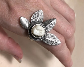 NEW & ONLY ONE - Tooth Fairy Series: Real Human Molar Adjustable Silver Ornate Leaf Statement Ring - Starts at Size 7