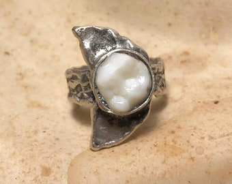 NEW STYLE - Tooth Fairy Series: Real Human Molar Lunar Moon Phase Adjustable Silver Ring - Starts at Size 7