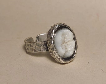 ONE RESTOCK - Tooth Fairy Series: Real Human Molar Crown Adjustable Oval Setting Thin Band Silver Ring - Starts at Size 7