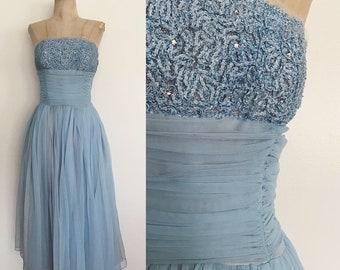 52ad180293c7 1950's Pale Blue Nylon Prom Dress w/ Ribbon & Rhinestone Bust Size Small to  Medium by Maeberry Vintage