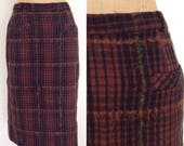 1950 39 s Brown Plaid Mohair Wool Pencil Skirt Size Medium 28 quot Waist by Maeberry Vintage