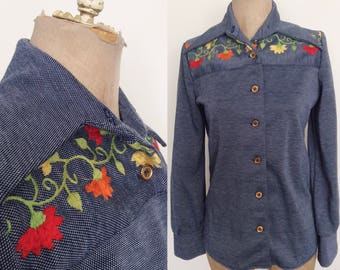 1970's Denim Blue Embroidered Button Up Shirt Size Small Medium by Maeberry Vintage