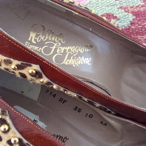 Heels Studded 1970's Patent Ferragamo Leopard amp; Leather Fur FxZ0qYwZp