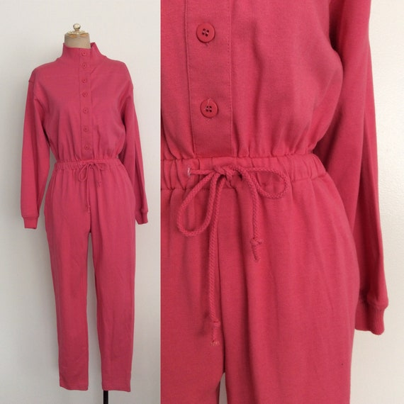 1980's Bubblegum Pink Cotton Sweatshirt Jumpsuit by Etsy