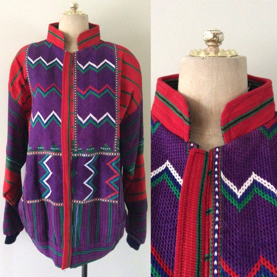 1980's Hupil Embroidered Bomber Vintage Jacket Plu