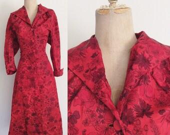 1950's Red Acetate Floral Print Shirtwaist Dress Plus Size al By Maeberry Vintage