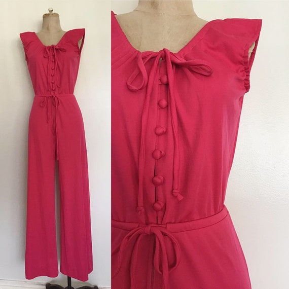1970's Hot Pink Polyester Jumpsuit w/ Drawstring W