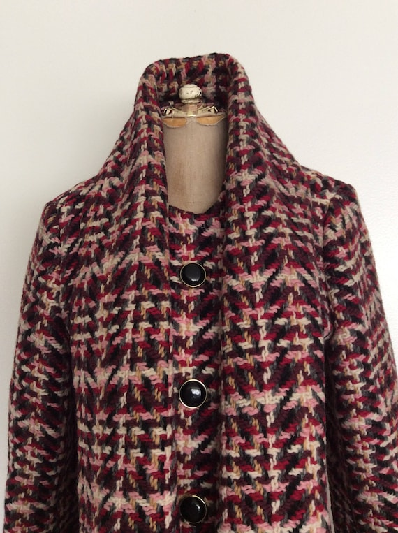 Size 1960's Tweed Small Maeberry Textured Attached Fitted by w Coat Vintage Pink Scarf 48q8aRwxSr