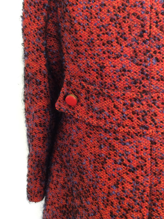 Textured Large 1960's Pea Blue Maeberry Size amp; Tweed Red Vintage Coat by 7qwBRq8tx