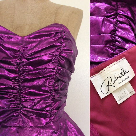 Shimmery 1980's Vintage Peplum Purple Party Small Lame XS Size Cocktail Dress Dress Wiggle By Maeberry BrBq5Ag