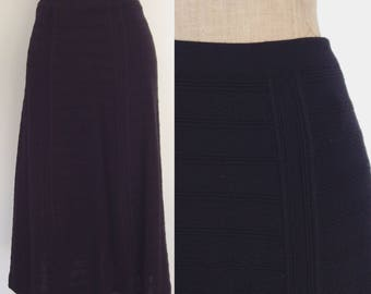 1970's Black Wool Knit A-line Skirt Sweater Skirt Size Medium Large by Maeberry Vintage