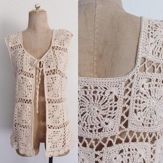 1970's Ivory Granny Squares Vest Sweater Vest Size