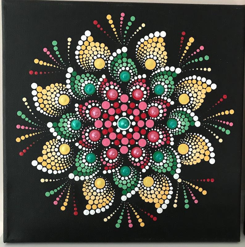 Dot Mandala Christmas colors 10x10 canvas image 0