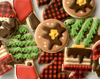 2 Dozen Lumberjack And Flapjacks Into the Woods Sugar Cookie Collection