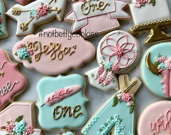 2 Dozen Boho Wild and Free Cookie Collection