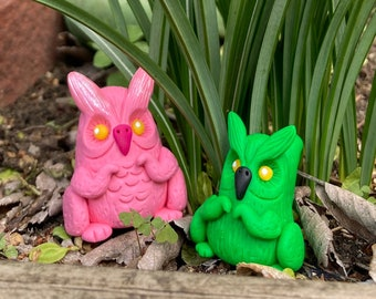 Small Pink Owl Squirrel Figurine