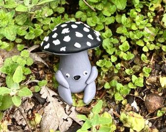 Cute Grayscale Mushroom Figurine