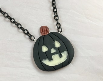 Black Pumpkin Necklace with Glow in the Dark Face