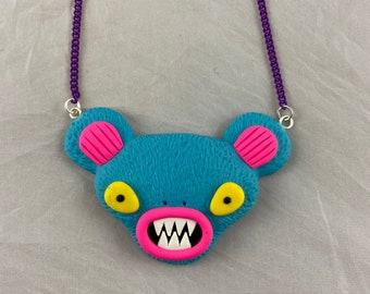 Blue Alien Bear Necklace