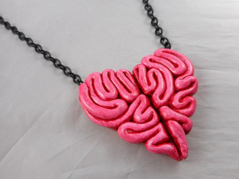 Zombie Heart Brain Necklace