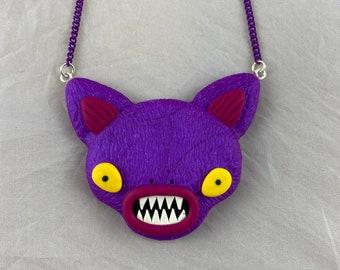 Purple Alien Cat Necklace