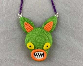 Green Alien Bunny Necklace