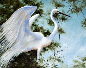 Print of Painting of an Egret in the Wetlands or Swamp