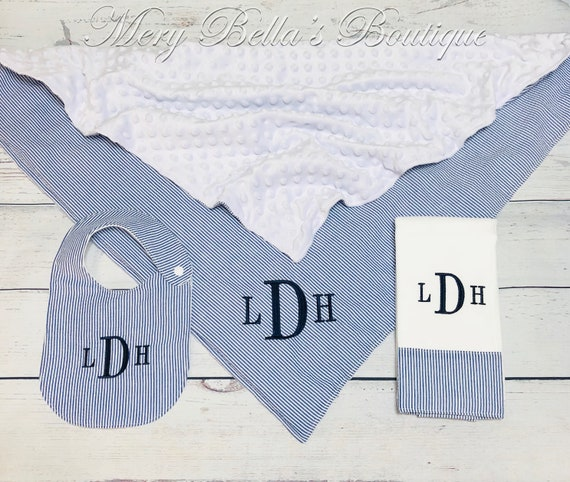 Shower Gift Baby boy or girl Monogrammed Personalized Blanket