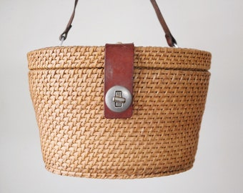 6c5da70914e Mid Century Picnic Basket Style Handbag, Rattan Basket Purse, Boho Bag,  Made in Hong Kong