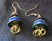 Blue and Green Vintage Button Earrings