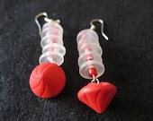 Red quot Art Deco quot Vintage Button Earrings
