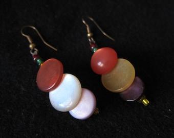 Purple, Orange & Yellow Vintage Layered Button Earrings