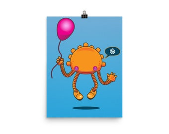 Take Me To You Leader - Cute Robot Vector Illustration Poster