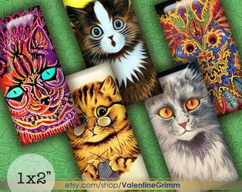 Scrapbooking Card Making Digital Collage Sheet Domino size 1x2 Vintage Retro Siamese Cats for Jewelry Journaling Instant Download