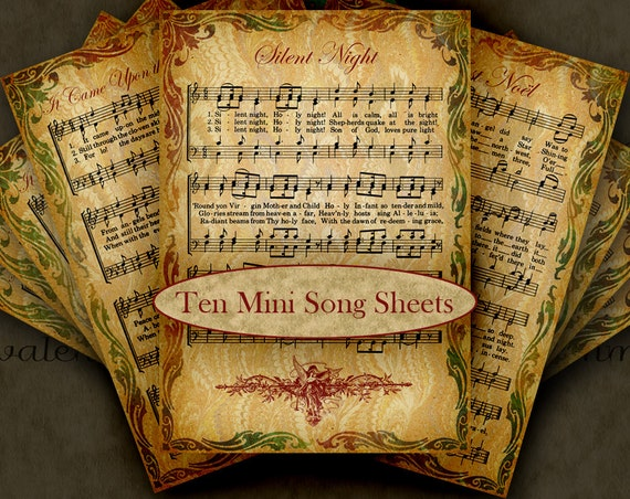 Religious Christmas Music Clipart.Christmas Carols 10 Digital Printable Mini Song Sheets Clipart For Tags Cards Paper Crafts Holiday Religious